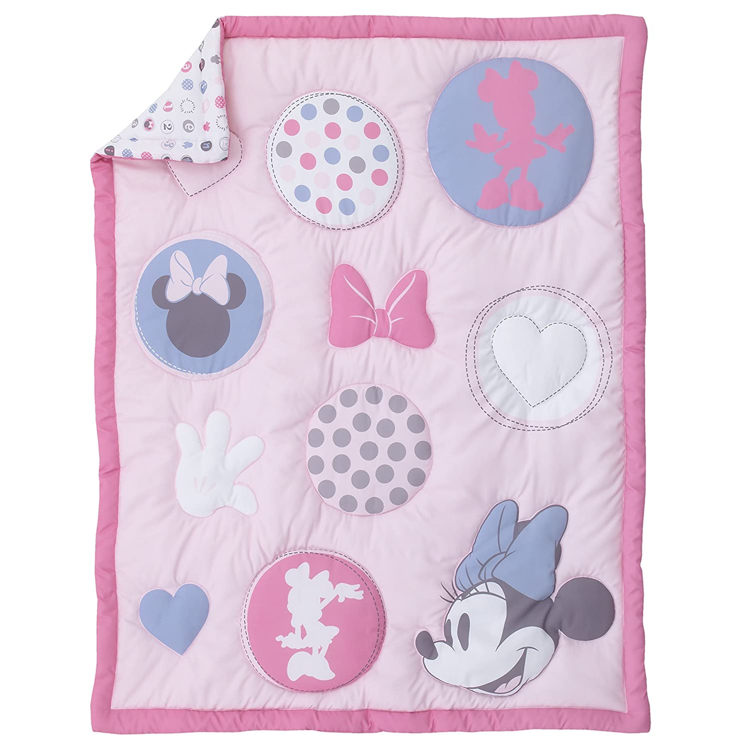 Pink Disney Minnie Mouse Pretty In Pink 3 Piece Nursery Crib Bedding Set Rose Grey