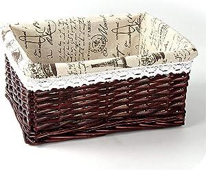 Bamboo Weaving Storage Basket Fruit Picnic Basket Rattan Storage Box For Cosmetics Snacks Tea Book Organizer Handiwork Mx0117109,04,M(30X20X12Cm)