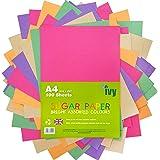 Sucre papier A4–100x 100feuilles de couleurs vives–100g/m²–21001–fabriqué au Royaume-Uni par Ivy Stationery