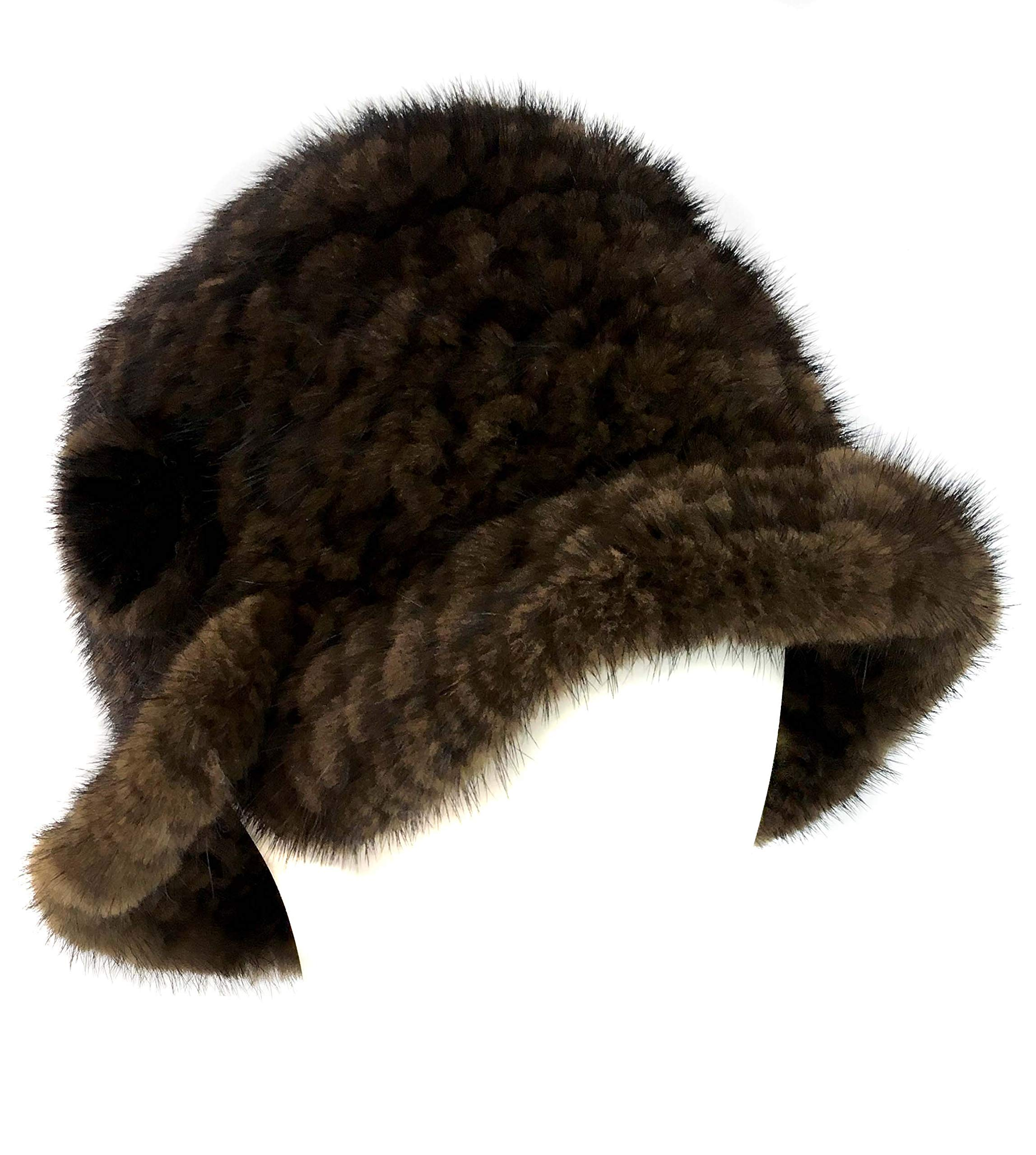 surell Mink Cloche Knit Hat - Real Fur Bell Flapper Hat - Bridal Wedding Attire Brown