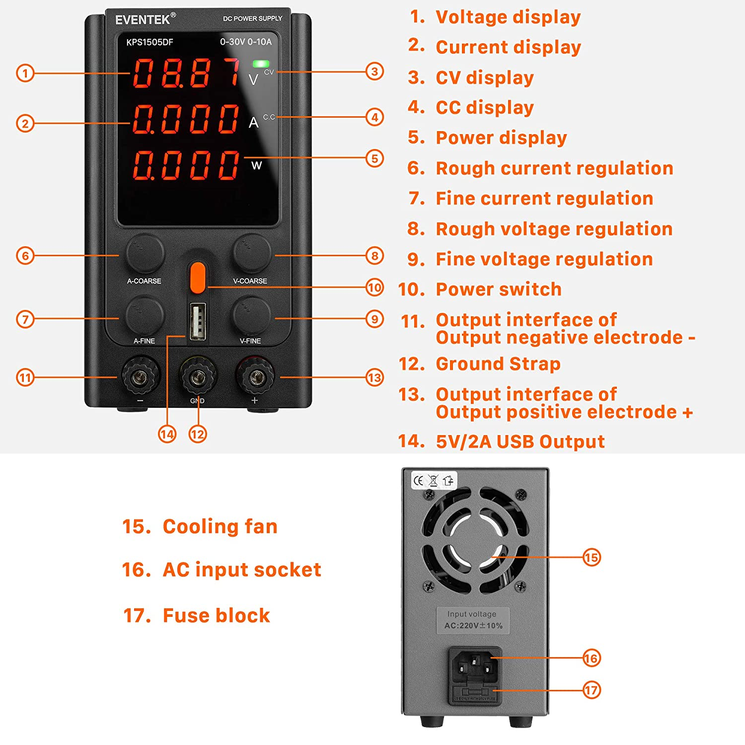 eventek Adjustable Switching DC Regulated Bench Power Supply with 4-Digits LED Display Alligator Cord//Test Lines DC Power Supply Variable 30V 10A 5V2A USB Interface