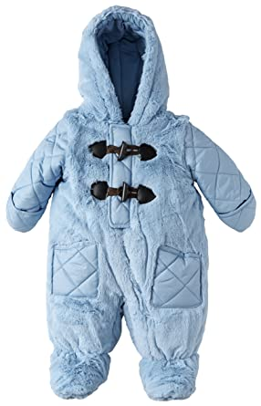 b4e94bf25 Rothschild Baby Boys Quilt and Fur Footed Puffer Snowsuit with Hood ...