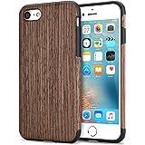 TENDLIN Cover iPhone 7 Legno Ibrida Silicone TPU Flessibile Custodia, Palissandro Nero