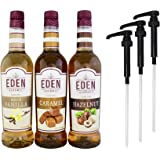Eden Gourmet - French Vanilla, Caramel & Hazelnut Naturally Flavored Syrup 750ml bottles - Set of 3 - Pumps included
