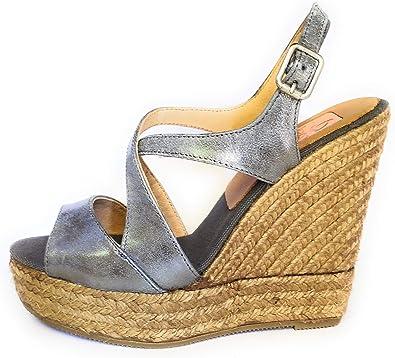Sandalia cuña de Esparto Natural Tiras en Piel. 100% Made in Spain (Gris, 40): Amazon.es: Zapatos y complementos