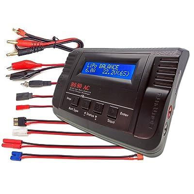 B680AC CAR Dual Power (6Amps, 80Watts): LiPo, LiIon, LiFe, NiCd, NiMh AC/DC Balancing Battery Charger w/ Deans T-Plug, Traxxas High Current, Tamiya/Kyosho/Molex, HXT4.0mm Bullet Redcat, EC3/EC-3 Plugs: Toys & Games [5Bkhe1904404]