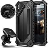 ELV High Impact Resistant Rugged Full Body Protective Case Cover for Apple iPhone X/ iPhone 10 with Air Vent Magnetic Car Mount - Black