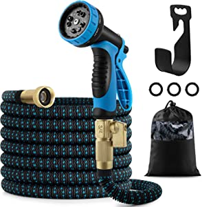 50ft Garden Hose, Expandable Water Hose with 10 Function Nozzle, Leakproof Lightweight Expanding Garden Water Hose with 3/4