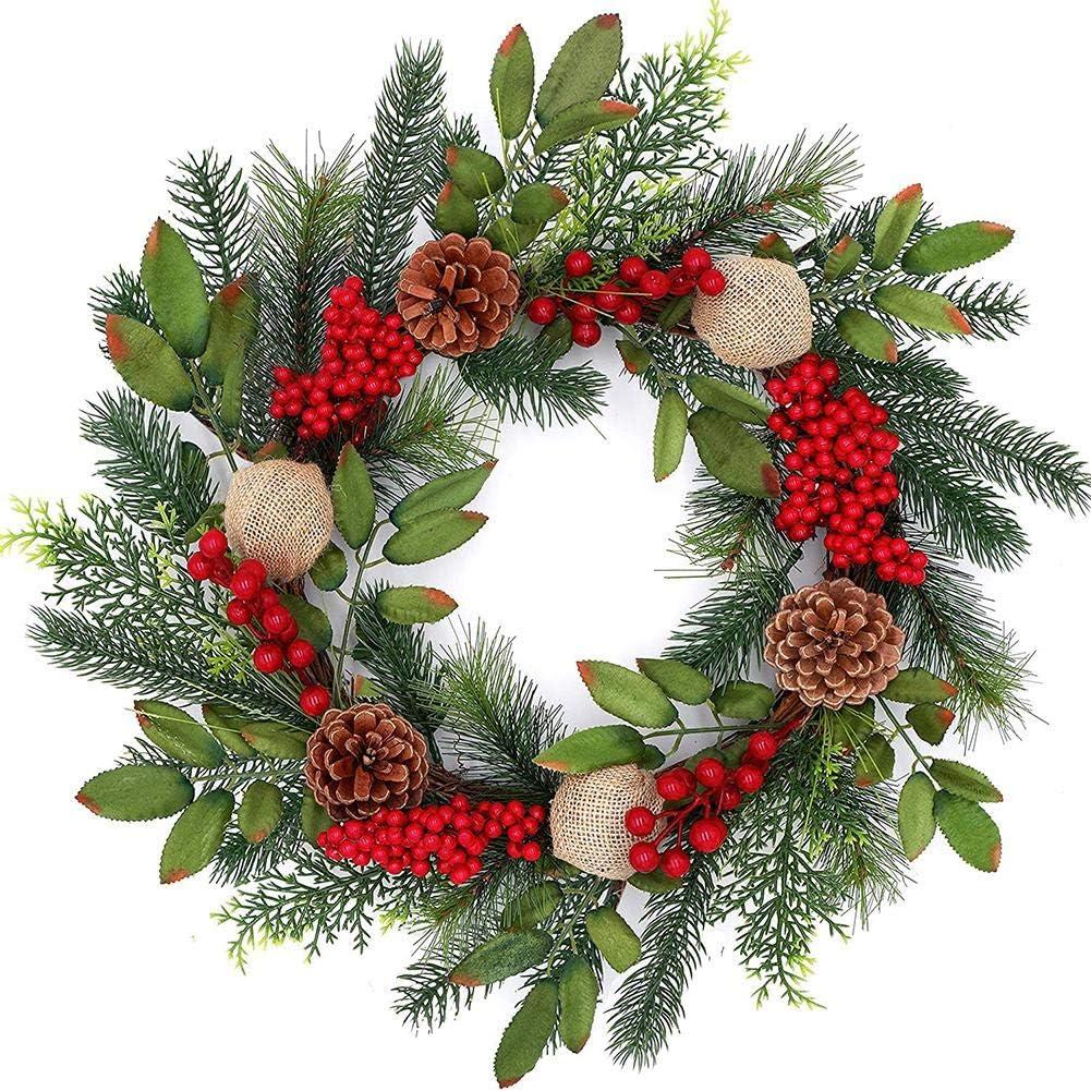 Christmas Wreath Handmade Wreath Christmas Door Wreath with Red Berries Evergreen Leaves for Door Hanging Hotel Scene Layout Enhances Winter Decor Christmas Wreaths for Front Door 18IN