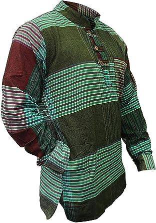 SHOPOHOLIC FASHION Hombre Cuadros Hippy Camisa de Abuelo: Amazon.es: Ropa y accesorios