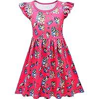 Koveinc Toddlers Dress Baby Girls Cartoon Cute Dress Fun and Games Short Sleeve Dress