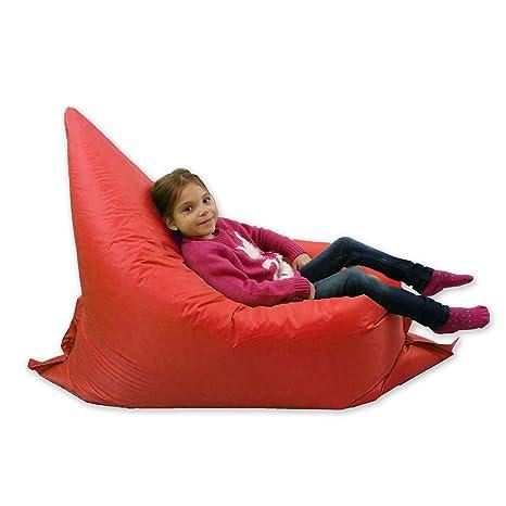 Puf grande para niños, ideal para jardín, adopta 6 forma, 100 % resistente al agua, color rojo
