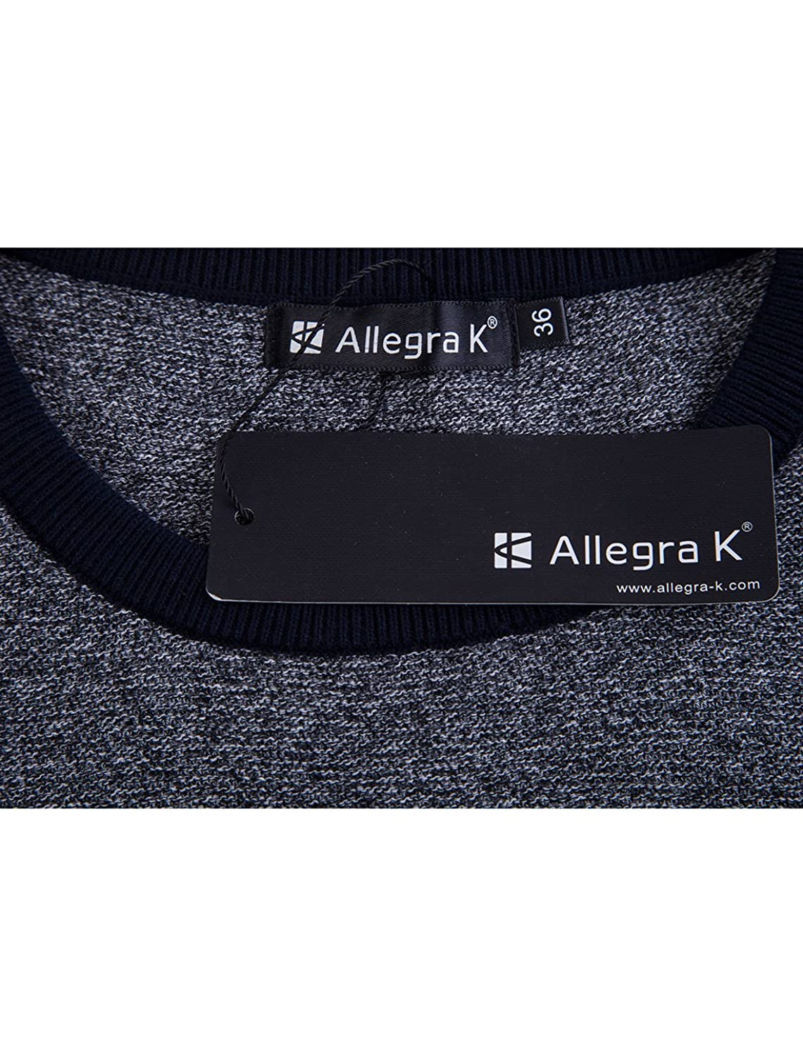 Allegra K Men Color Block Crew Neck Long Sleeves Ribbed Trims Pullover Sweater