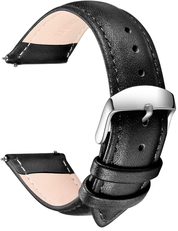 SONGDU クイックリリースレザーウォッチバンド フルグレイン 本革の交換用ベルト ステンレスメタルバックルクラスプ 18mm/20mm/22mm 18mm ブラック 18mm ブラック ブラック 18mm B075MY5GY2
