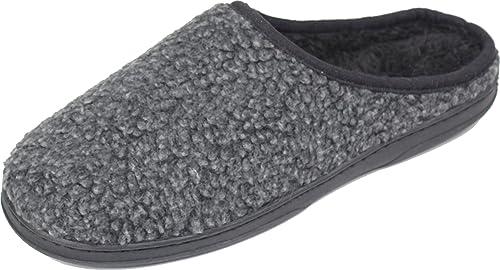 LUXEHOME Hombres Acogedor Floc Marcas Zapatillas (07) (43/44 EU, Gris