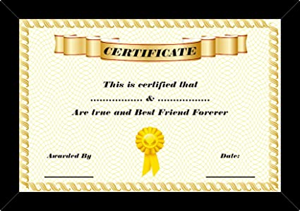 buy 100yellow gift certificates 4 u best friend certificates