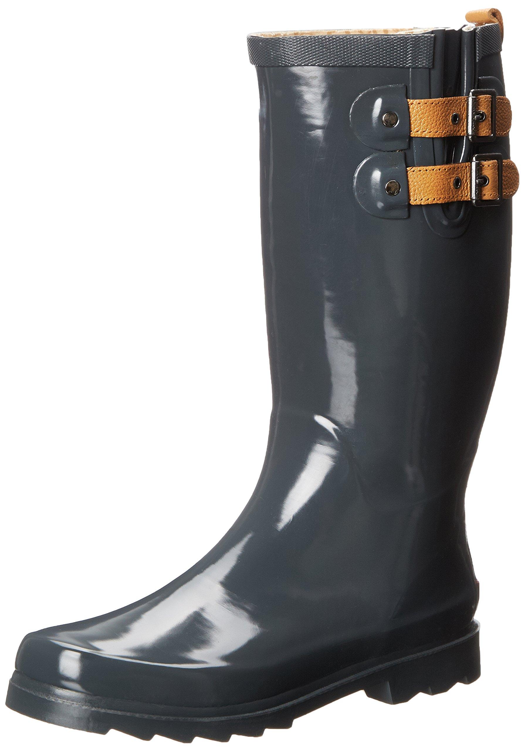 Chooka Women's Top Solid Rain Boot, Charcoal, 6 M US