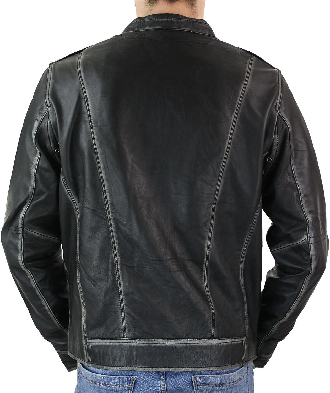 Mens Biker Motorcycle Vintage Distressed Brown Winter Leather Jacket