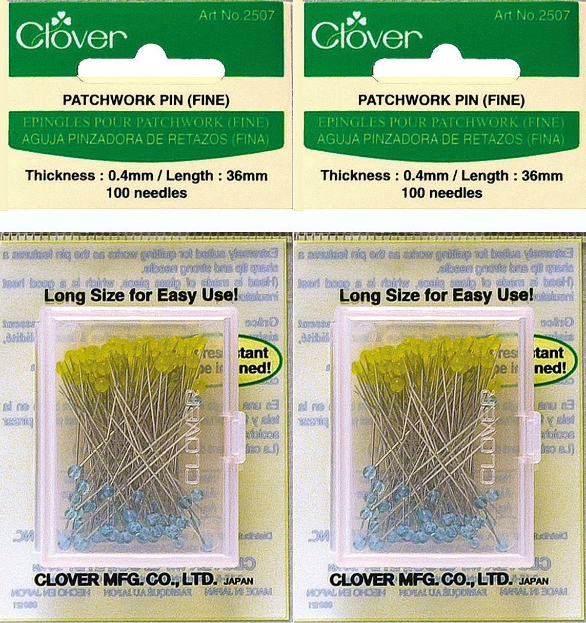 Two (2) Boxes Quantity 100 Clover Extra Fine Patchwork Pins ~ Article No. 2507 ~ 1.5'' Long .4mm Glass Head by CLOVER