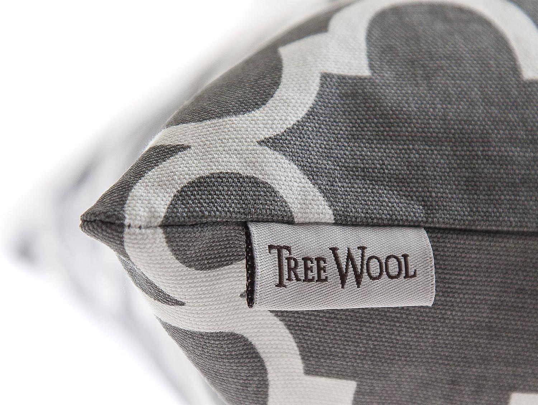 40 x 40 cm, Noir /& Gris Trellis Motif D/écoratifs Housses de Coussin en toile de coton Treewool, Lot de 2
