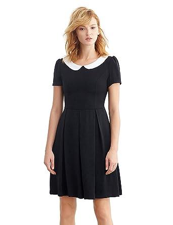 Simple Retro Women&-39-s 50s Short Sleeve Peter Pan Pleated Work Dress ...