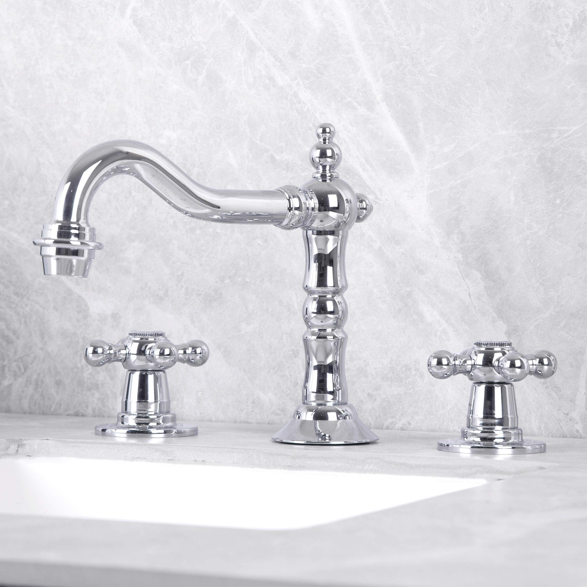 KAIMA Widespread Bathroom Faucet Three Holes Two-Handle Bathroom Sink Faucet Chrome Finished by KAIMA