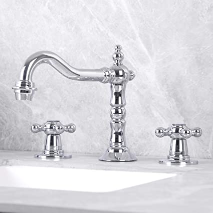 Terrific Kaima Widespread Bathroom Faucet Three Holes Two Handle Bathroom Sink Faucet Chrome Finished Home Interior And Landscaping Mentranervesignezvosmurscom