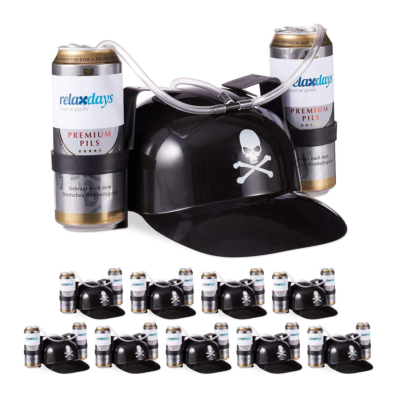 Relaxdays Relaxdays Relaxdays 10 x Trinkhelm Pirat, Helm mit Schlauch, für 2 Dosen Bier, Karneval Spaß Partyartikel, Totenkopf Bierhelm, schwarz 6aa79a