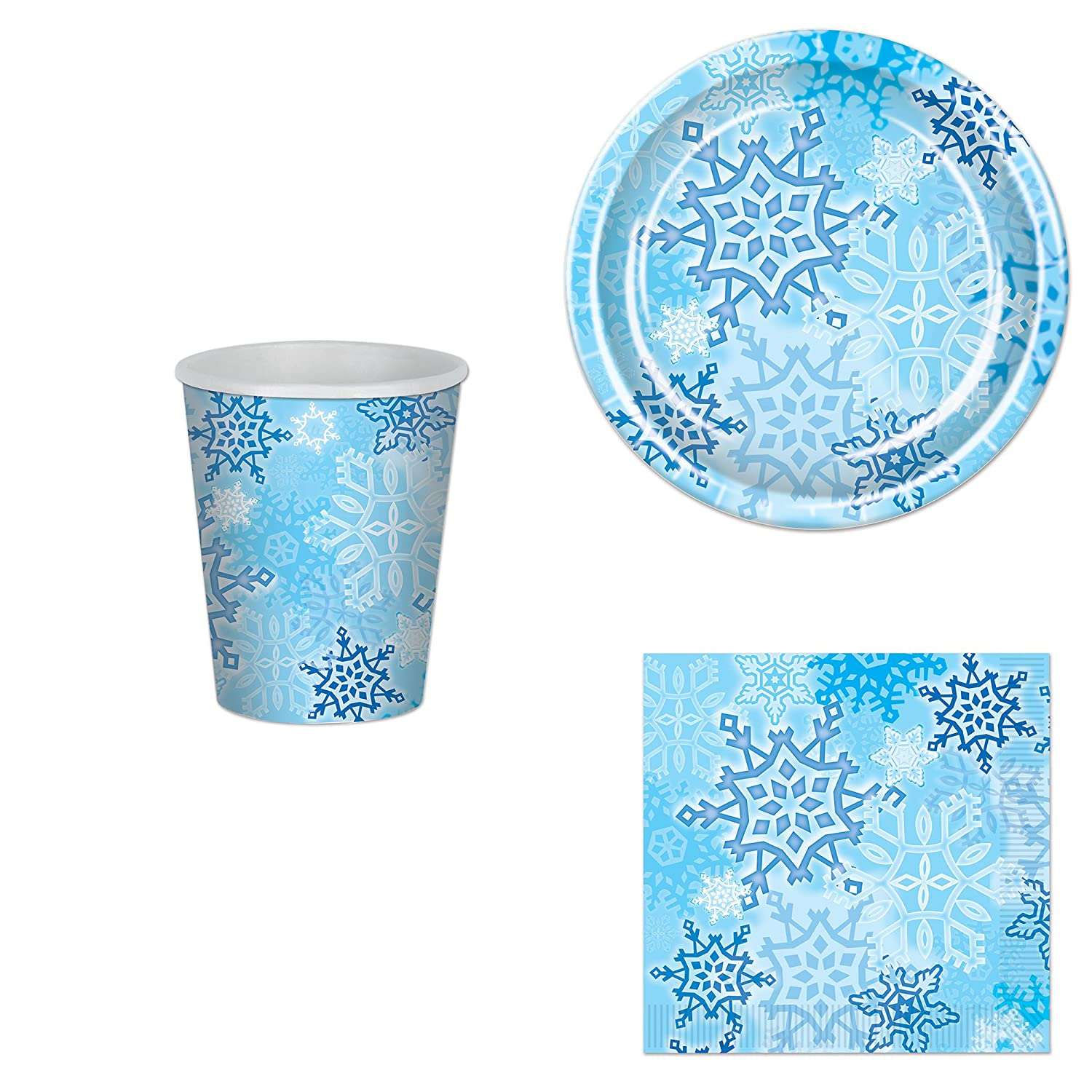 Napkins and Cups Beistle Plates Snowflake Party Bundle for 16