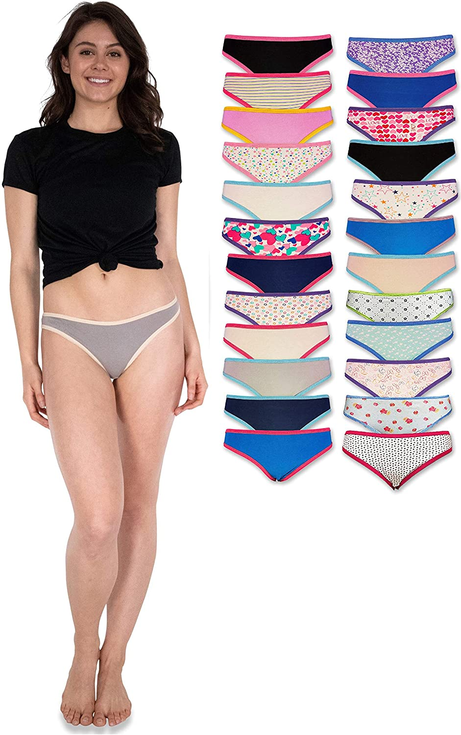 Livingtex 24 Pack Variety of Womens Underwear Pack T-Back Thong Bikini Hipster Briefs Cotton Lace Panties
