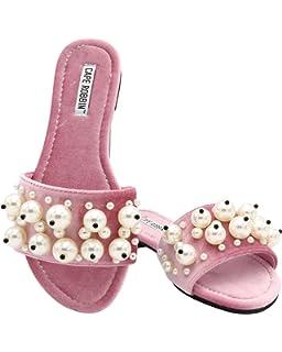 79a5ce1471da CAPE ROBBIN Women s Open Toe Pearl Embellished Slide Sandals