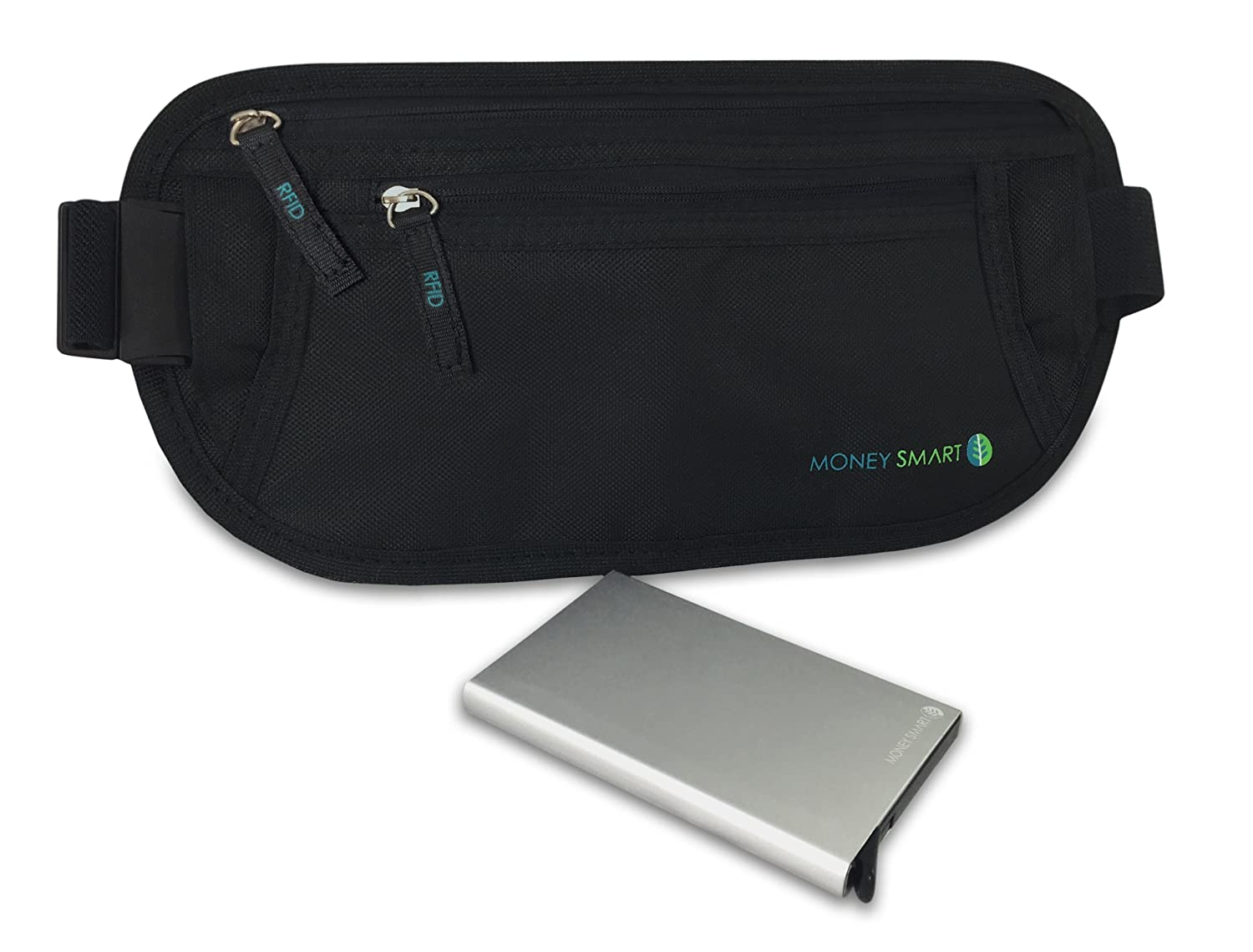Money Smart Ceinture de Voyage Porte Cartes Ultra-léger Anti RFID, Portefeuille Protection Antivol pour Passeport, Cartes, ID, Pochette Running Belt Poche sous Vêtement Sport et Voyage