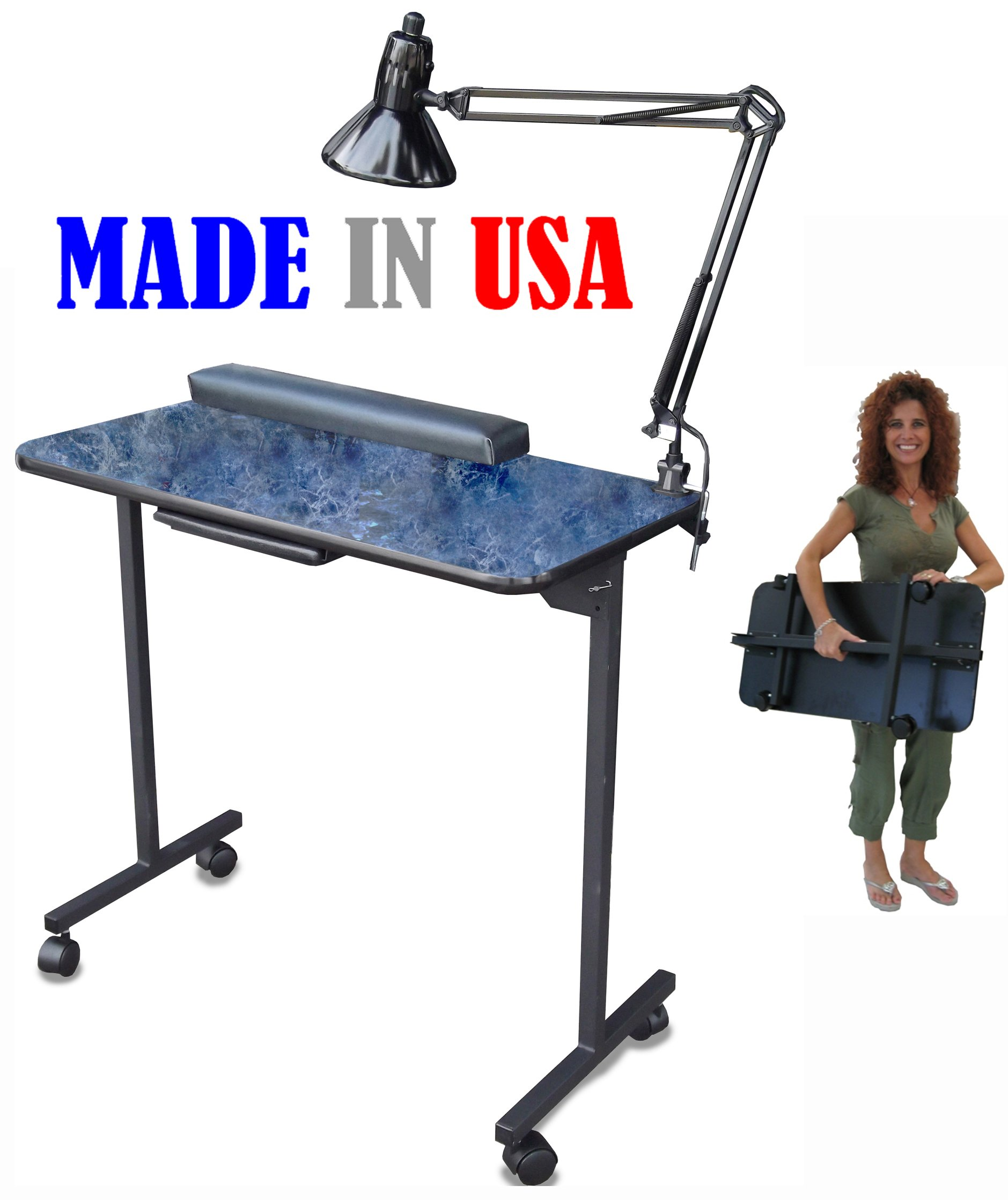 310DLX Portable Foldable Manicure Nail Table Black Marble Lam. Top by Dina Meri