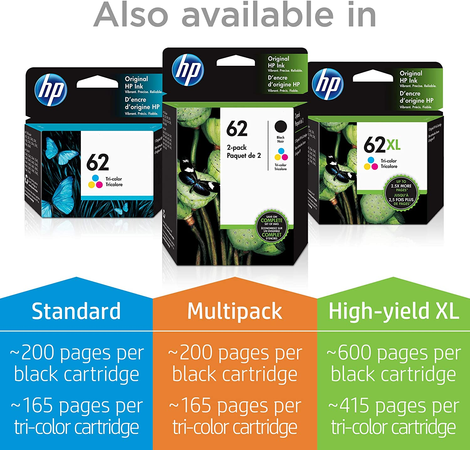 HP 62 cartucho de tinta Original Negro Multipack - Cartucho de tinta para impresoras (Original, Tinta a base de pigmentos, Negro, HP, HP Officejet 8040 with Neat® e-All-in-One, HP ENVY 8000 e-All-in-One,