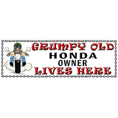 SHAWPRINT Grumpy Old Honda Détenteur Lives Here Plaque en Métal/Plaque Humoristique (47h2)
