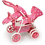 Badger Basket Reversible Double Doll Stroller (fits American Girl dolls), Pink Polka Dots