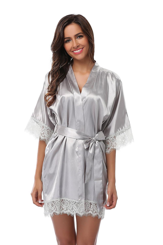 VogueBridal Women's Short Kimono Robe With Lace Trim