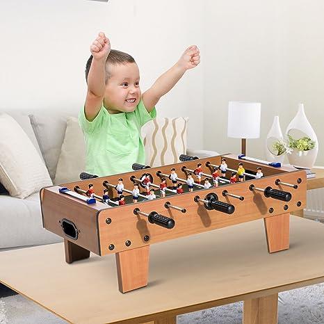 HOMCOM Futbolín de Mesa Juego Mesa de Fútbol Madera 69x37x24cm para Niño +3 Años y Adultos: Amazon.es: Juguetes y juegos