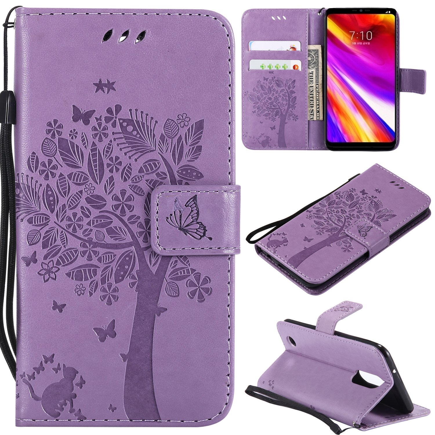 LG Aristo Case, LG Phoenix 3 Wallet Case,LG Fortune/K8 2017/LG Risio 2/LG Rebel 2 LTE Flip Case PU Leather Emboss Tree Cat Flower Folio Magnetic Kickstand Cover with Card Slots for LG LV3 Light Purple by NOMO (Image #1)
