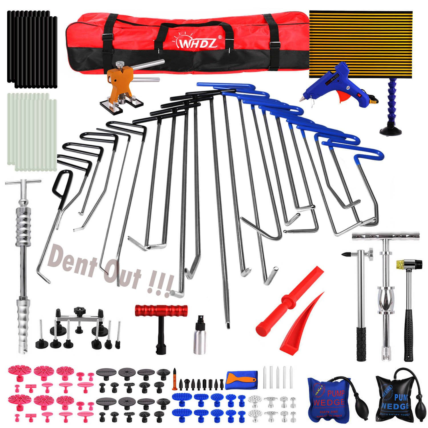 WHDZ Paintless Dent Repair Tools Kit, Tool Kit for Hail Damage Removal - 21pcs Paintless Dent Rods Dent Puller Slide Hammer Dent Lifter Glue Gun Tap Down Light Reflect Board Auto Dent Repair Kit