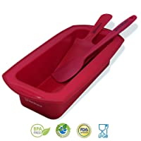 BACKHAUS FLEXBAKE NonStick Silicone Loaf Pan with Baking Spatula and Cake Knife , 100% BPA Free , Heat Resistant Cake Mold Set | 5 Years Warranty | Ø 23cm | Red