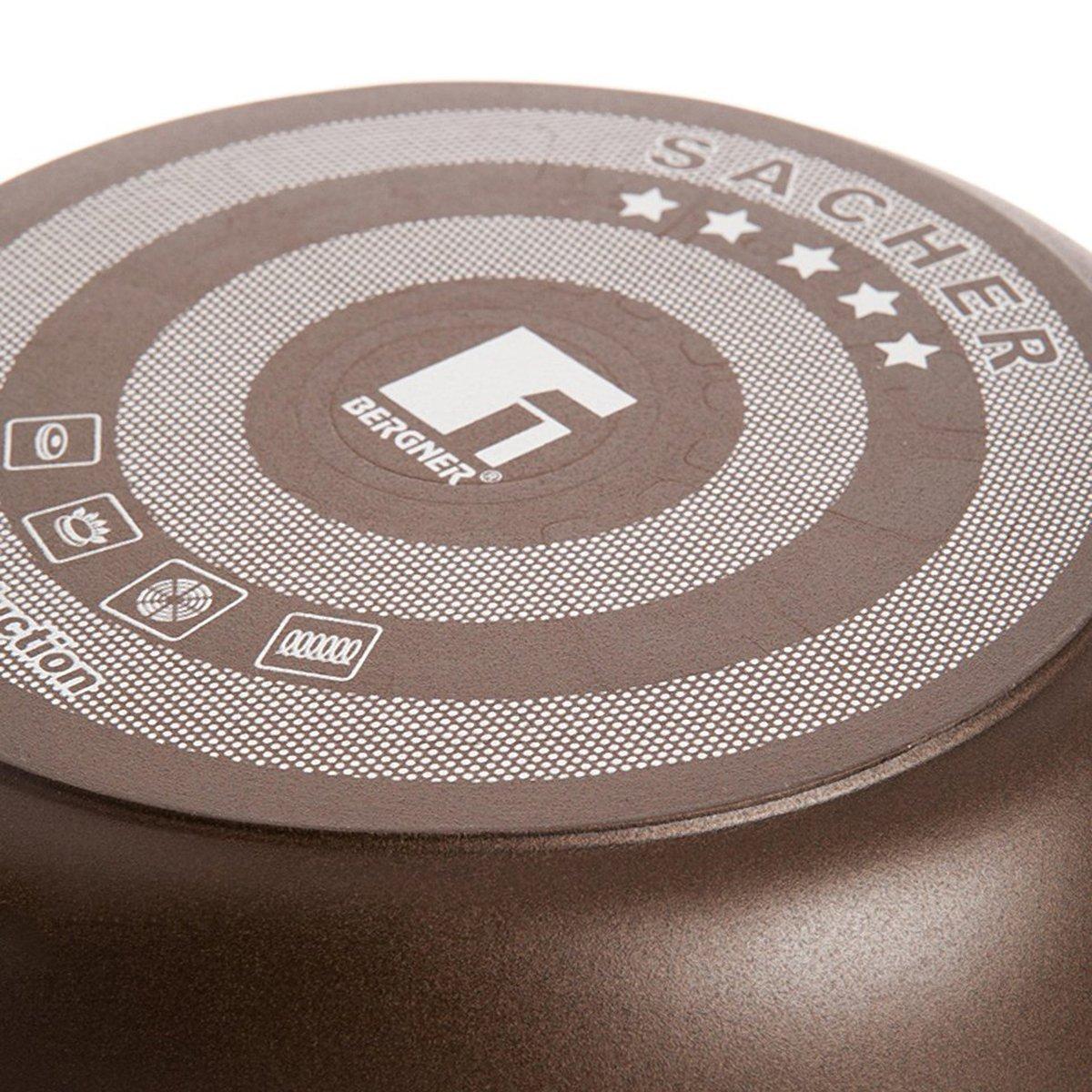 Bergner Sacher Wok con Recubrimiento de Diamante, diámetro 28 cm, Apto para inducción, Color Negro, Aluminio Fundido, Centimeters