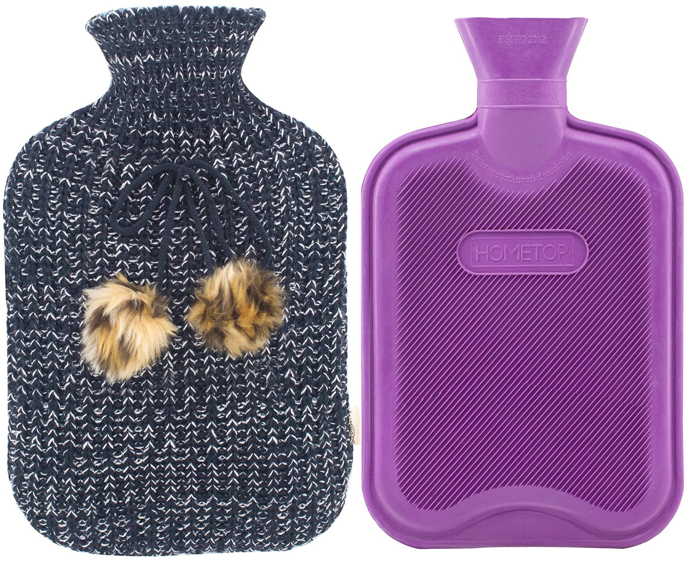 Premium Classic Rubber Hot Water Bottle and Blending Knit Cover with Pom Pom Decor, for Pain Relief and Comfort, 2 Liter by HomeTop (Image #1)