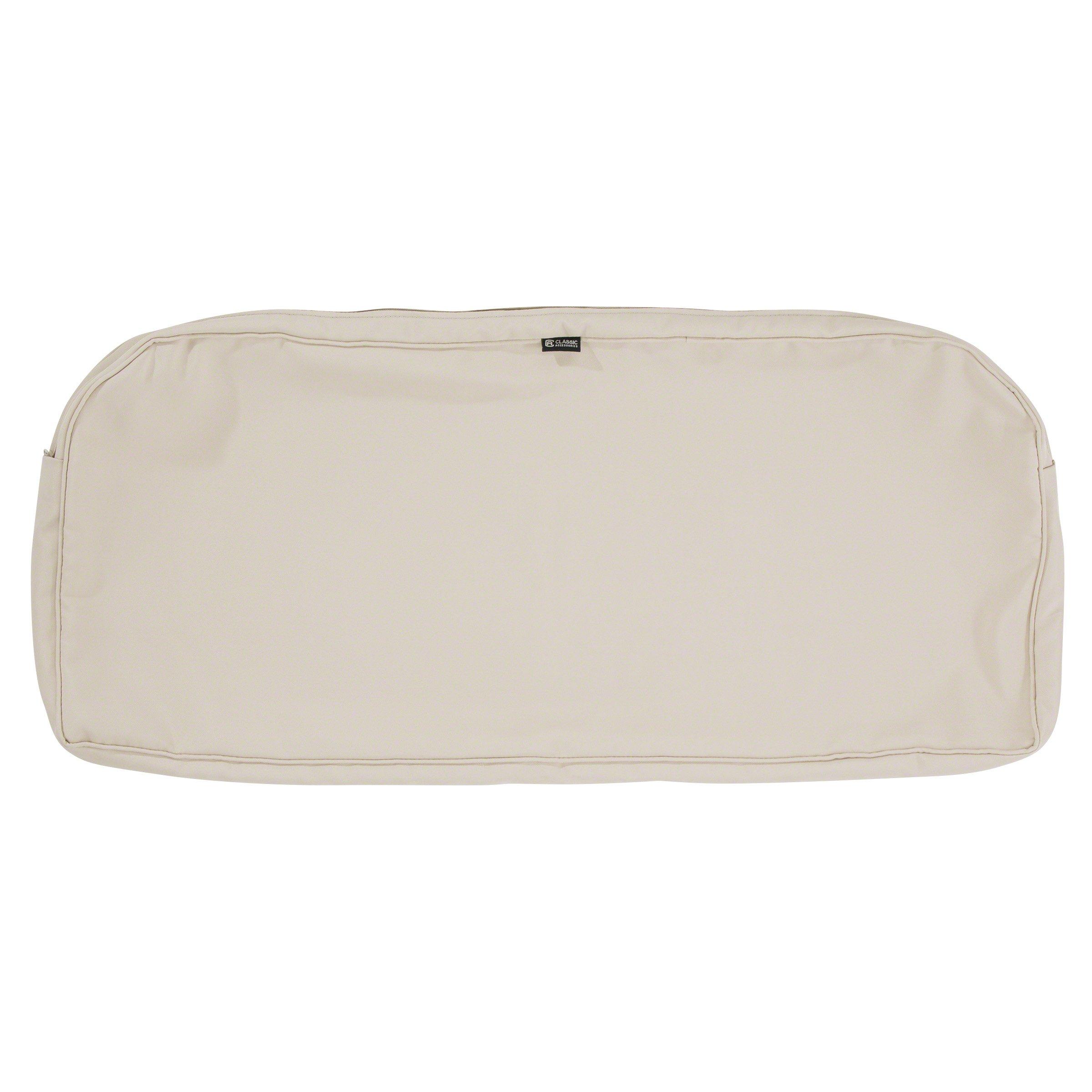 Classic Accessories Montlake Patio Bench Seat Cushion Slip Cover, Antique Beige, 41x18x3 Contoured