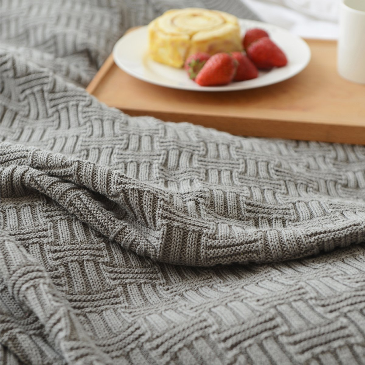 MYLUNE HOME 100% Cotton Stylish Knitted Throw Blanket for Watching TV or Nap on Chair,Sofa and Bed (180x200cm, gray)