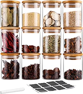 TIANGR 12Pc Airtight Glass Jars Set - 7 oz - Small Spice Storage Containers Set With Bamboo Lid - Kitchen Spice Canister Jars - For Cinnamon Herbs Cumin Spices - Include Labels&Chalk Marker