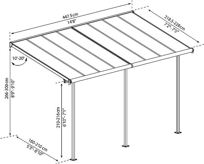 Palram Cubierta de aluminio de alta calidad para terraza, balcón, terraza, 230 x 447 cm (profundidad x ancho), color gris