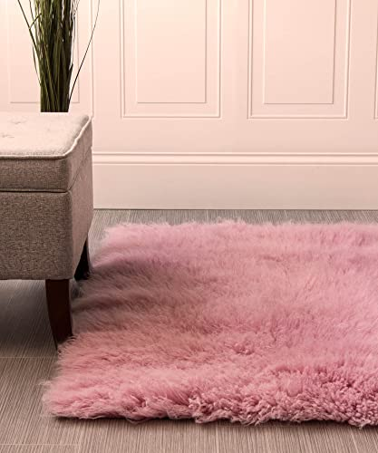 Super Area Rugs Hand-Woven Soft Wool Flokati Shag Rug 3 Feet by 5 Feet 3 X 5 , Pink
