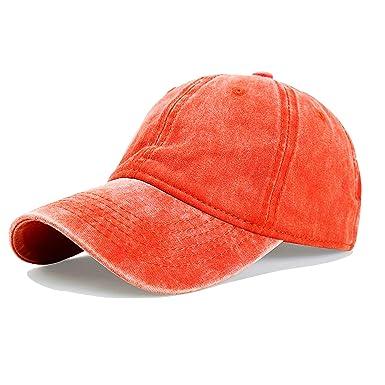 82cf7de44 LANTINA Women's Adjustable Baseball Cap Pigment Dyed Curved Brim Distressed  Hat with Ponytail Hole Hip Hop Style Flexfit Summer UV Sun Protection ...