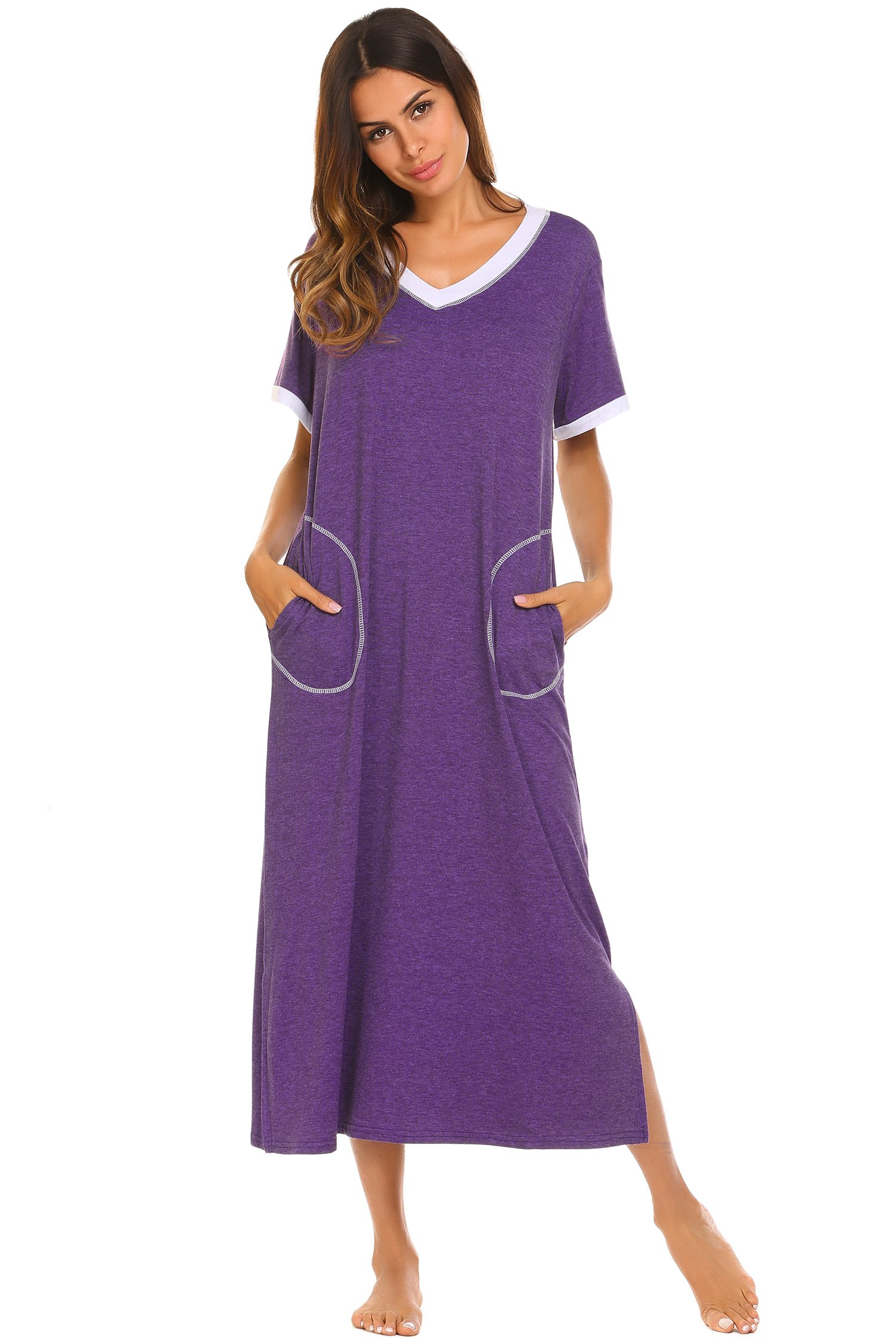 Ekouaer Loungewear Long Nightgown Women s Ultra-Soft Nightshirt Full Length  Sleepwear with Pocket 1f61c84e1